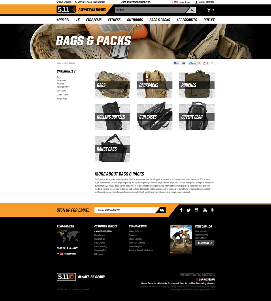 5.11 Tactical Category Page